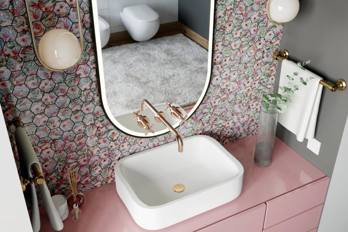 decoração rose gold de banheiro