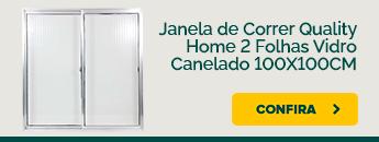Janela de correr Quality 2 folhas vidro canelado 100x100cm disponível na Carajás